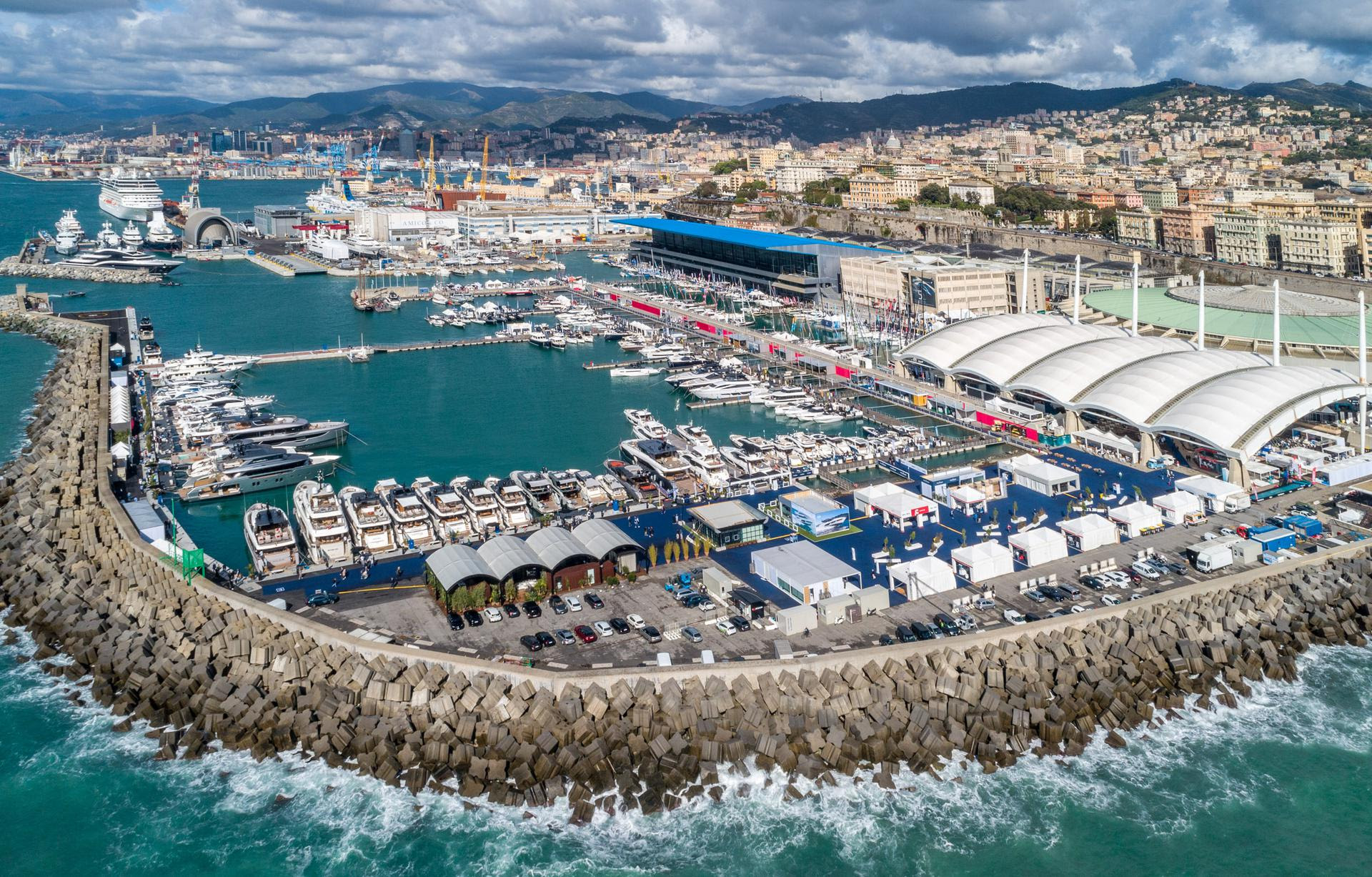 Aerial of the Genoa Boat Show 2021