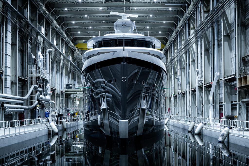 Shinkai from Vitruvius Yachts from front inside warehouse