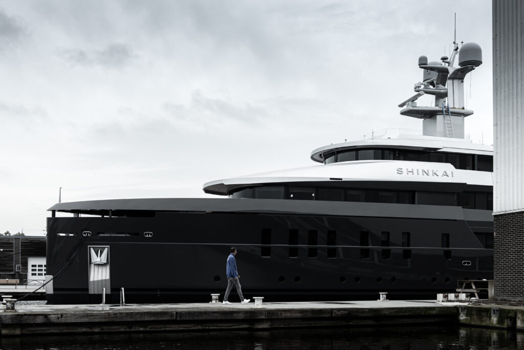 Shinkai from Vitruvius Yachts side profile at dock front half