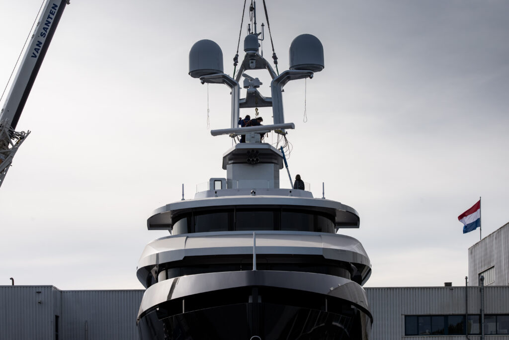 Shinkai from Vitruvius Yachts on crane being lowered front angle