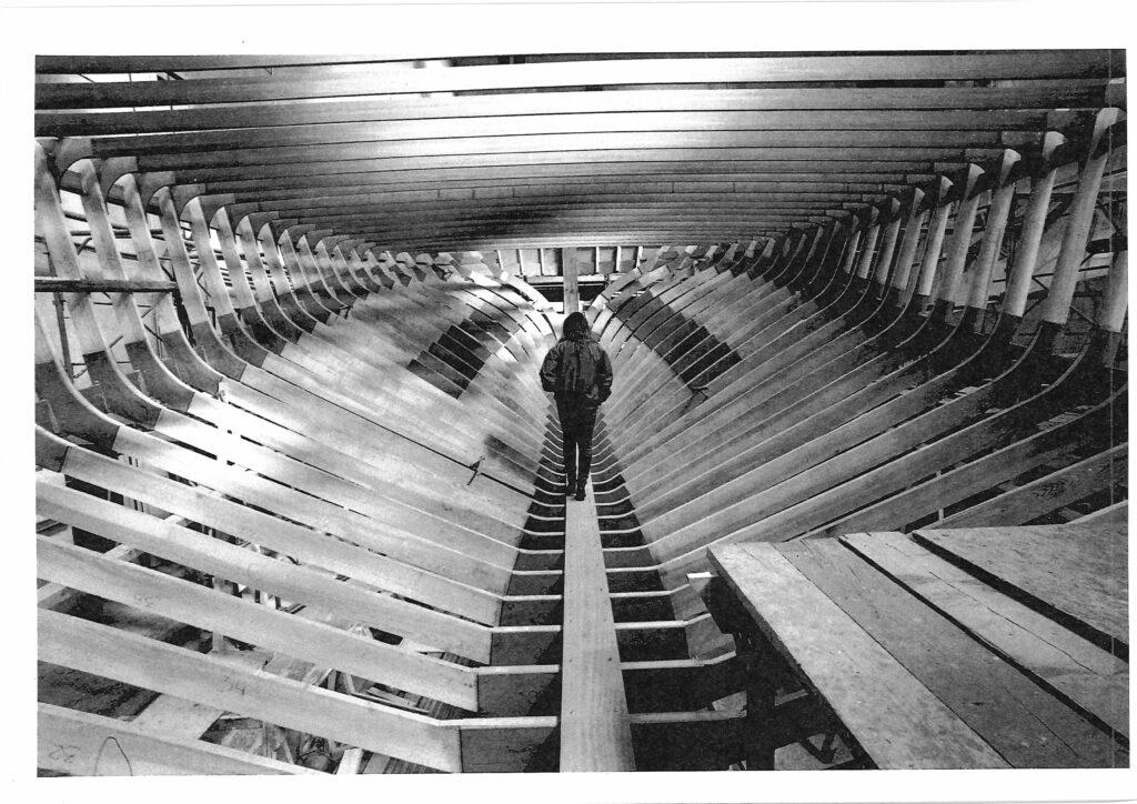 Zaterra 24m hull under construction with man walking