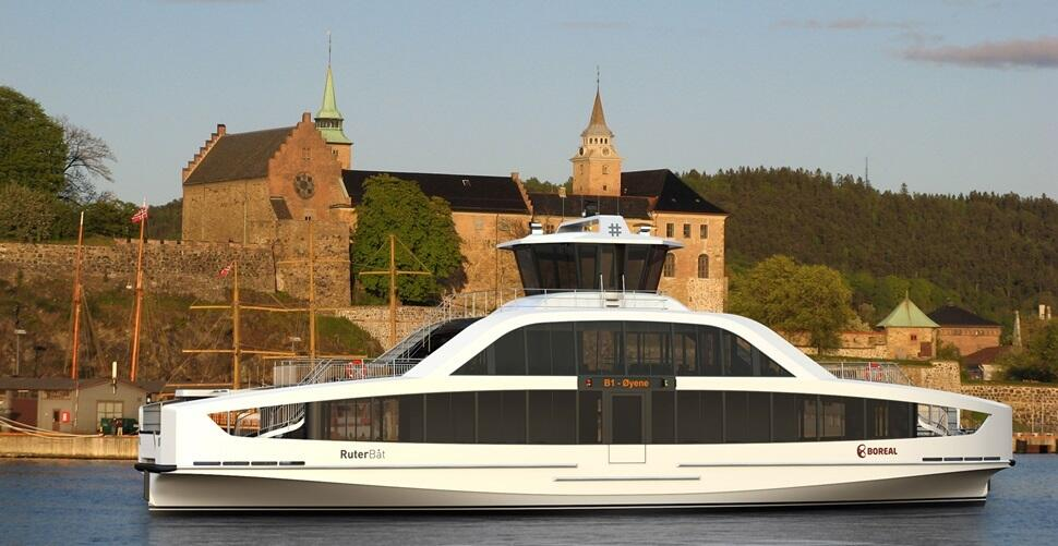 Electric Ferry in transit in Oslo, Norway