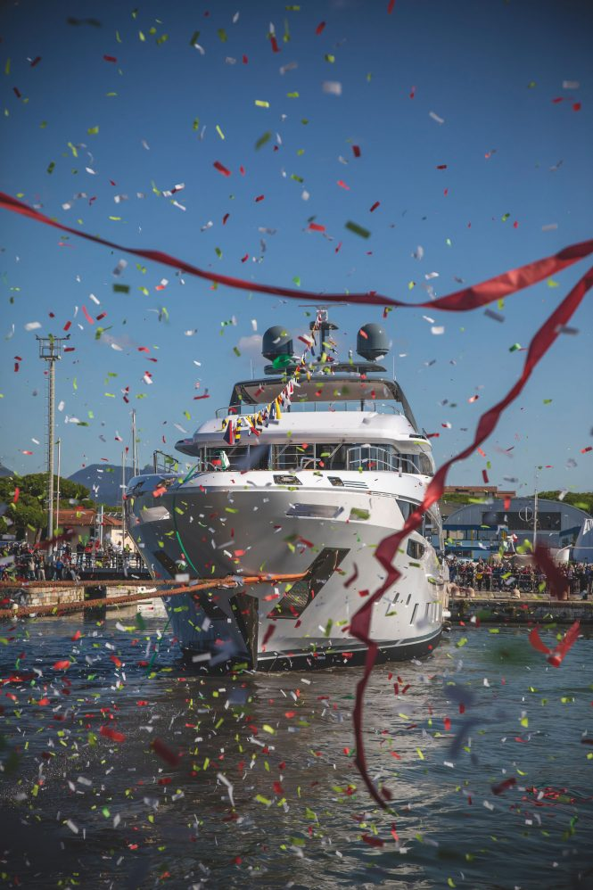 Benetti yacht :uxury Wave pictured forwards with confetti in foreground