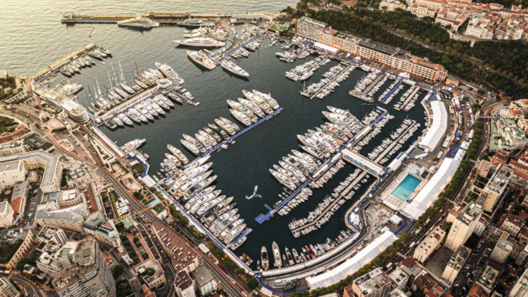 Aerial shot of the Monaco Yacht Show 2021