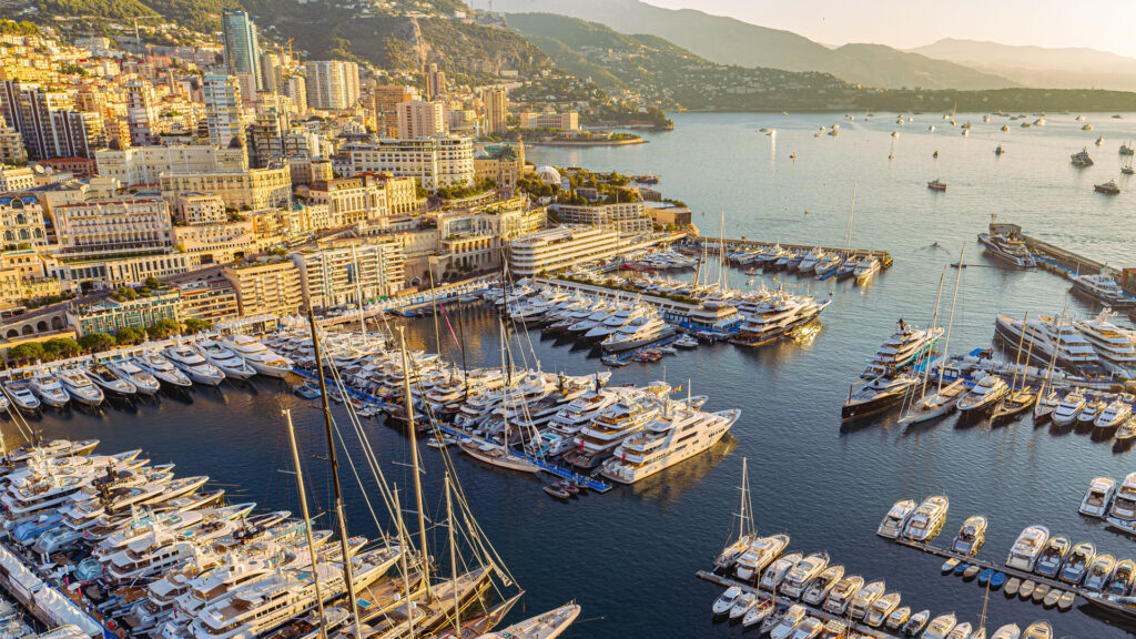 Close up of harbour at Monaco Yacht Show 2021