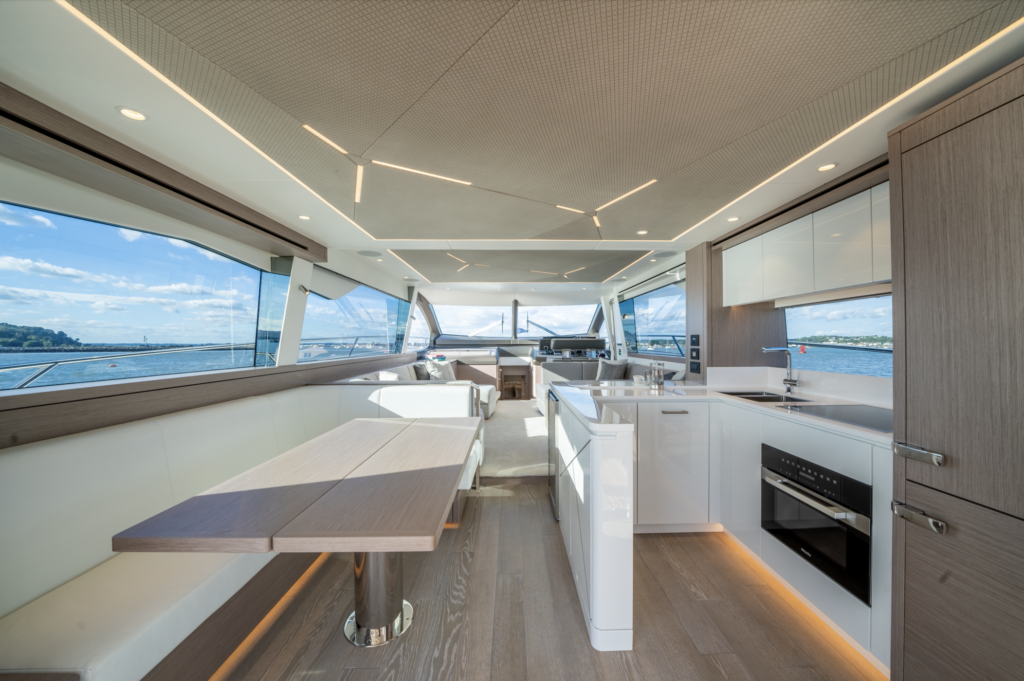 Galley onboard the Sunseeker Manahattan 68 Pacific