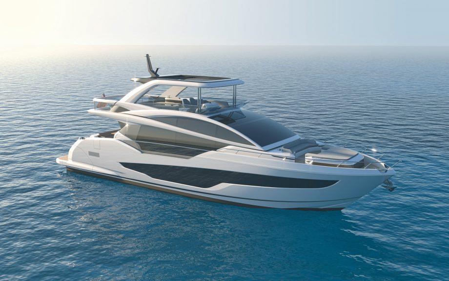 Pearl 72 Flybridge render front angle