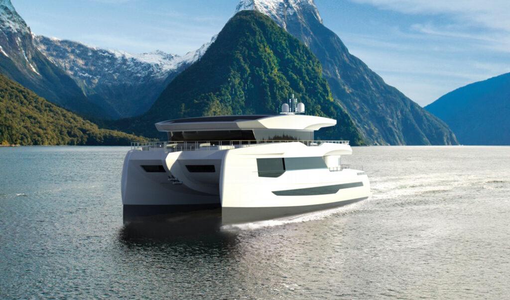 Render of Silent Yachts 100 Explorer cruising