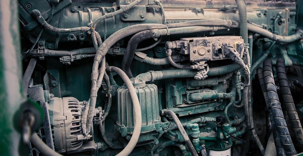 Close up of a Volvo Penta diesel engine