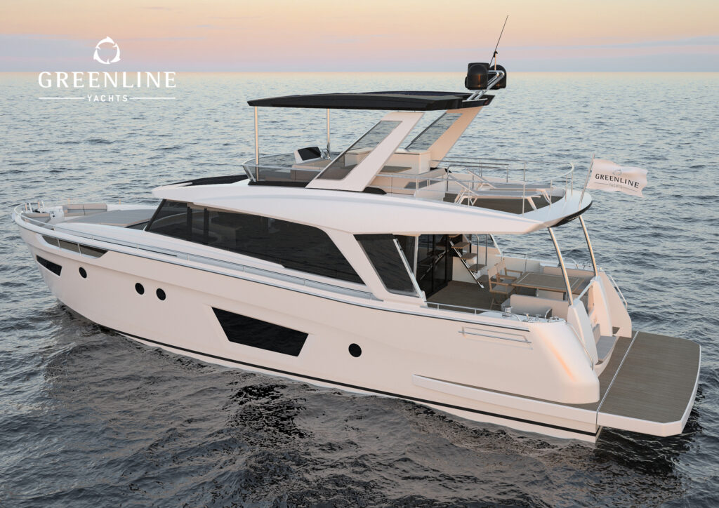 Render of Greenline 58 Fly anchored rear angle