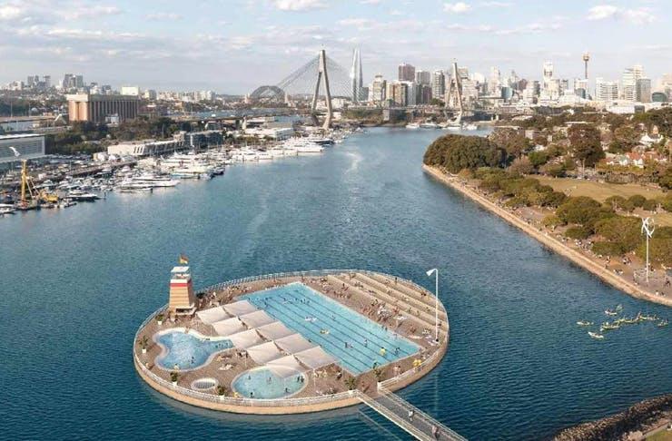 Sydney Harbour floating pools concept render