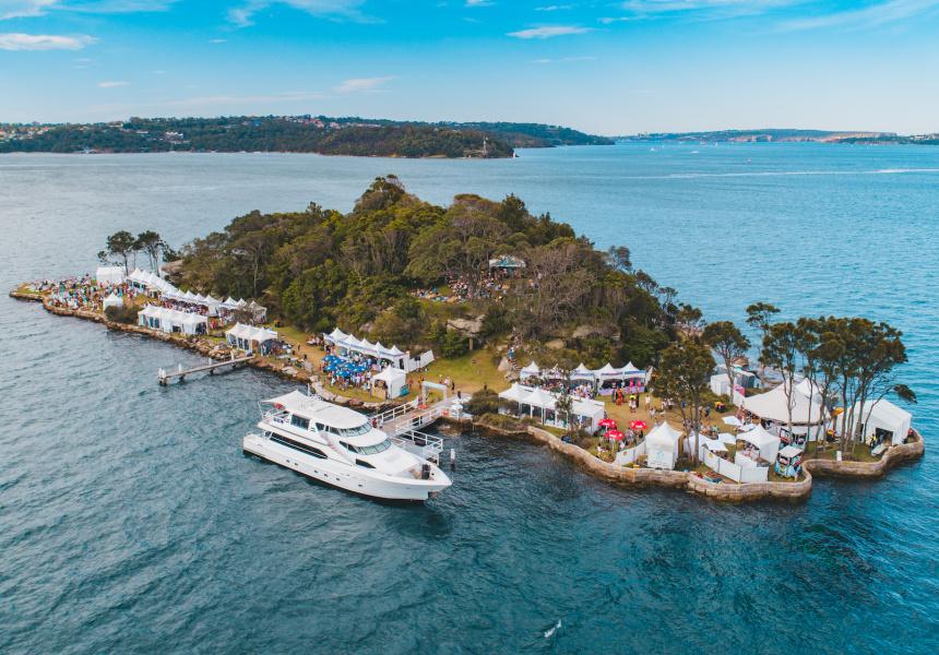 Aerial shot of Wine Island in Sydney Harbour