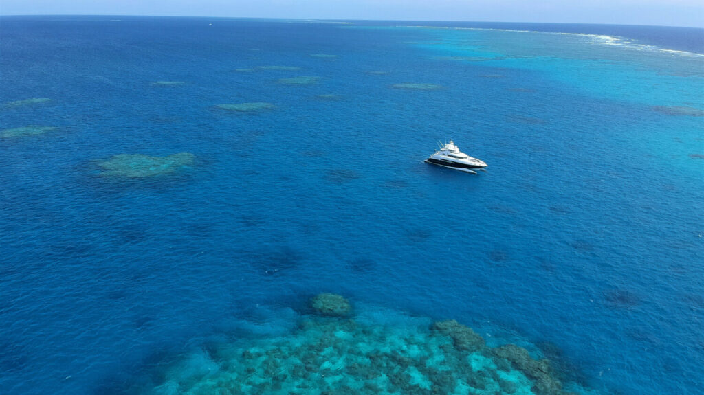 Boat anchored on the Great Barrier Reef