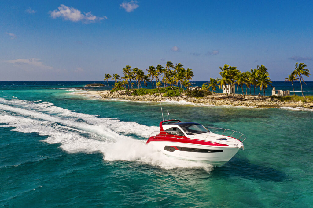 YANMAR X47 cruising with island in background